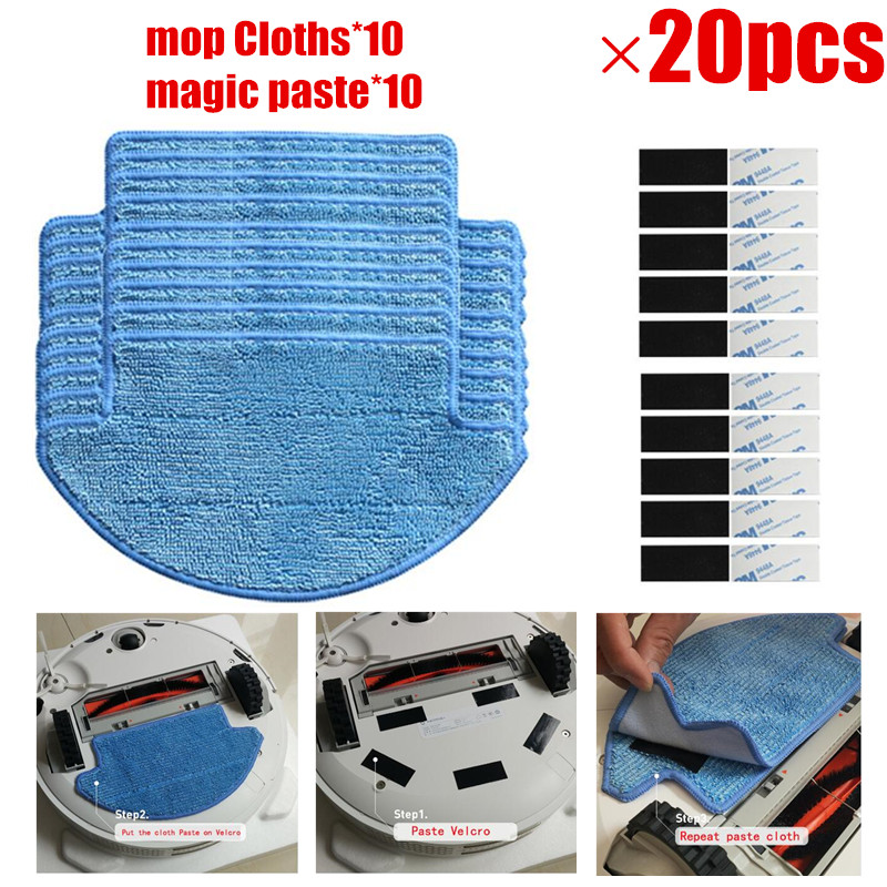 20PCS/LOT Robot Mop Cloths +Magic Paste Kit For Xiaomi Mi Robotic Vacuum Cleaner Parts