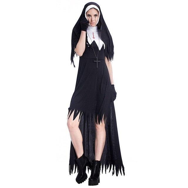 e14d84db25 Halloween Zombie zakonnica kostium dla dorosłych kobiet bluza z kapturem  czarny dla Halloween siostra Cosplay karnawał