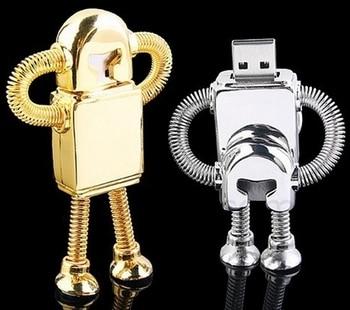 New Metal Robot Usb Flash Drive 512GB 2.0 64GB 32GB 16GB Pen Drive 1TB 2TB Pendrive Pendrives Memory Stick Mini Usb Key Gift