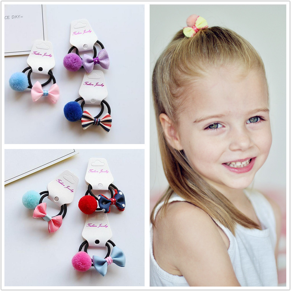 20PCS Children girl Hair accessories toddlers Kid Elastic Rubber Hair Bands hair bow pompom Headband hair ties gum   headwear