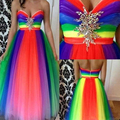 Most Popular Rainbow Prom Dresses 2016 Vestidos De Festa Curto Sweetheart Corset Long Evening Party Dress