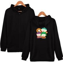 Print South Park Hooded Sweatshirts Men Zipper Hoodies Fashion Black Winter Hoodies Men Casual Funny Classic U.S. 4XL Clothes