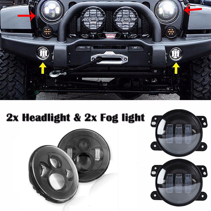7 inch Black Daymaker Style LED Projection Headlight kit and Round 4inch fog lamp Projector Lens for Jeep Wrangler JK Offroad windshield pillar mount grab handles for jeep wrangler jk and jku unlimited solid mount grab textured steel bar front fits jeep