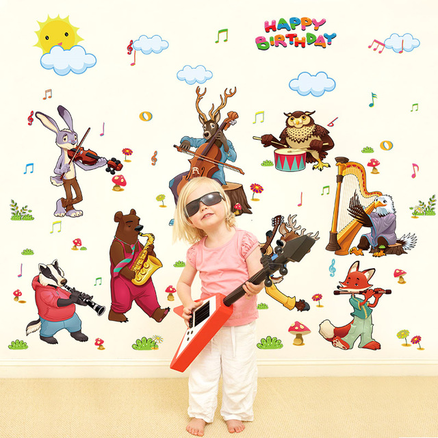 Cartoon bear fox owl birthday party animal band wall stickers for kids rooms children playroom home
