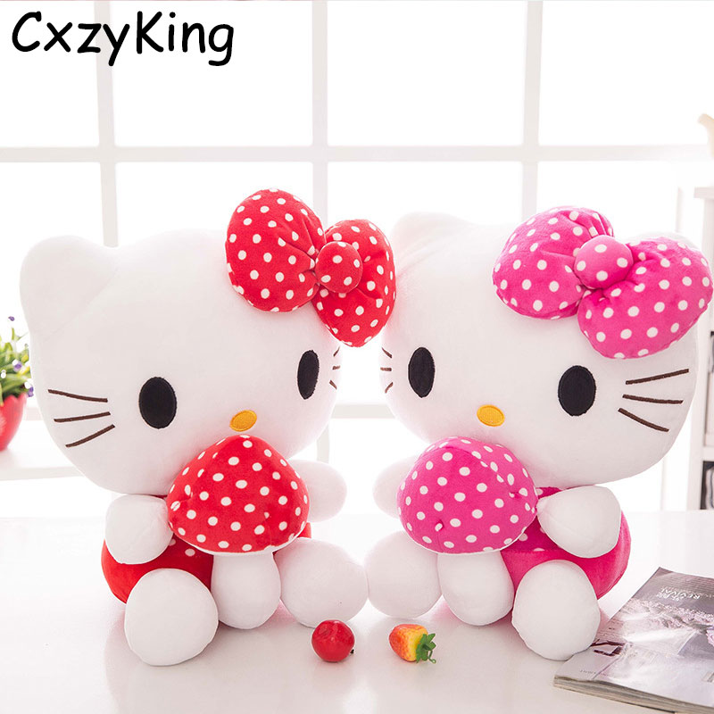 CXZYKING 20CM Sweet New KT Cat Hello Kitty Plush Toys Cute Hug Mushroom Hello Kitty KT Cat Pillow Dolls For Kids Baby Girl Gift new arrival sitting height 30cm hello kitty plush toys hello kitty toys super lovely baby doll classic toys for girls kids gift