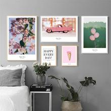 Small Fresh Photo Wall Pink Plant Car Balloon Cone Combination Canvas Home Decoration Painting Art Abstract Print Poster Picture