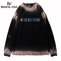 Bonita Vida Washing Water Retro Printed Long Sleeve T Shirts Men 2019 Summer Hip Hop Cotton Streetwear Tops Tee Shirt Homme