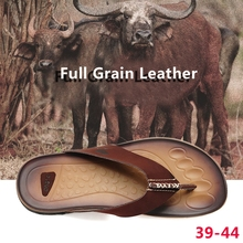 2016 Summer Novelty Flat Sandals Men Shoes Leather Man Slippers  Italian Breathable Soft Bottom Massage Casual Beach  Flip Flops