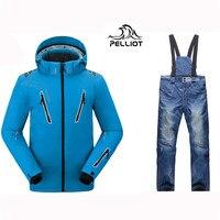 Pelliot Male Ski Suits Jacket+Pants Men's Water proof,Breathable TThermal Cottom padded Snowboard Suit Men Ski Jacket