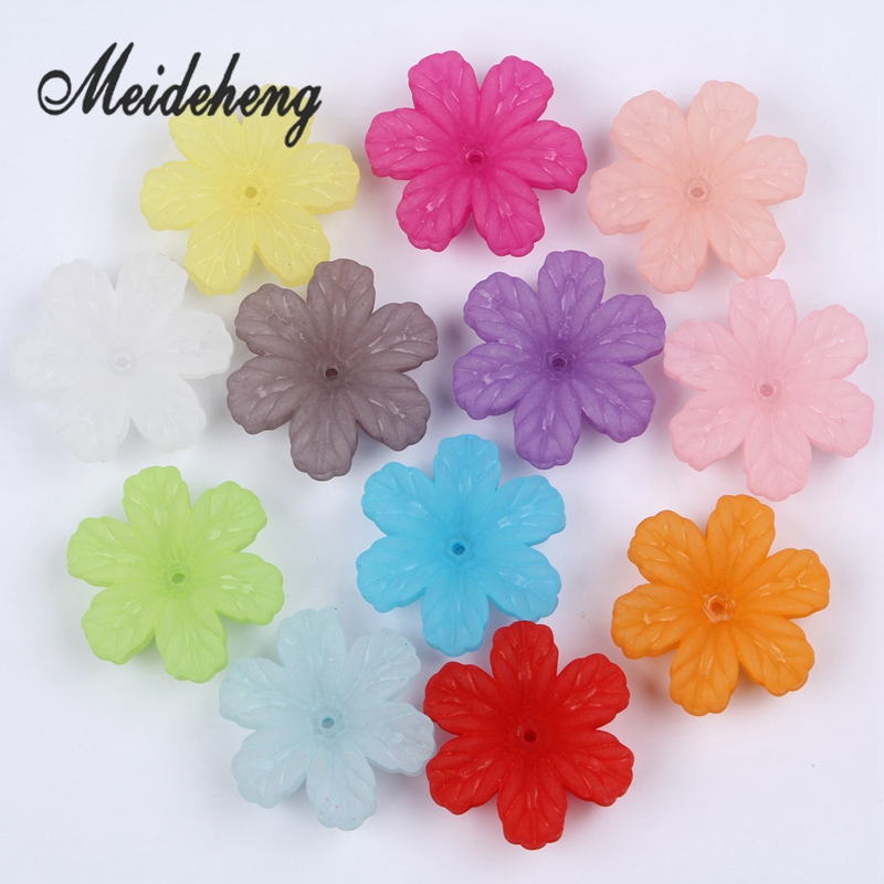 32x29mm Acrylic Colorful Frosted flower beads untuk Menjahit Anting - Perhiasan fashion - Foto 2