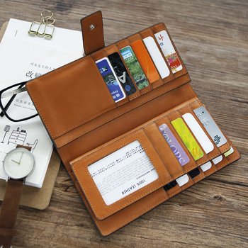 LANSPACE original type of high-grade handmade men's long leather wallet  first layer of leather hand bag