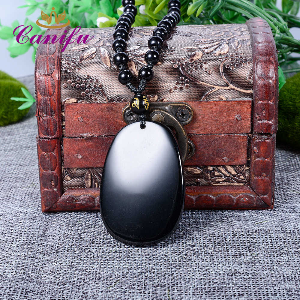 Canifu Unquie הטבעי השחור Obsidian שרשרת גילוף 3D חמוד בעלי החיים תליון מזל קמע שרשרת תליונים לתכשיטי נשים