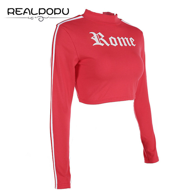 6a9384a1c3c Realpopu Turtleneck Long Sleeve Stripe Sexy T shirt Casual Tight Cropped T-shirt  Red Printed Letter Fashion Crop Tops Tee Women