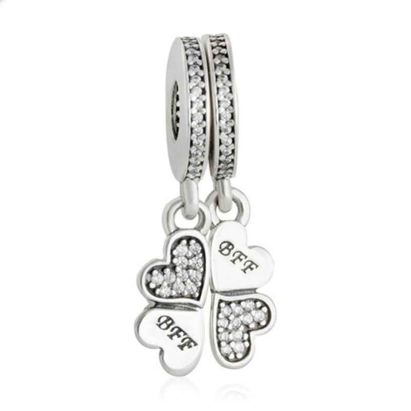Fits pandora Bracelet BFF Clover Pendant Charms Original 925 Sterling Silver Jewelry Best Friends Forever CZ Pave Hearts Beads