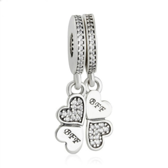 42459fdeb Fits pandora Bracelet BFF Clover Pendant Charms Original 925 Sterling Silver  Jewelry Best Friends Forever CZ Pave Hearts Beads