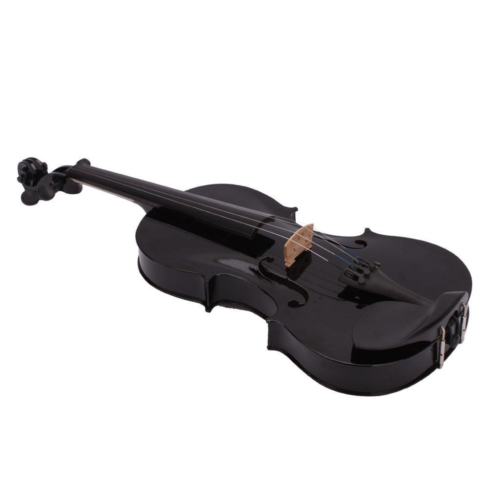 Music-S 4/4 Full Size Acoustic Violin Fiddle Black with Case Bow Rosin