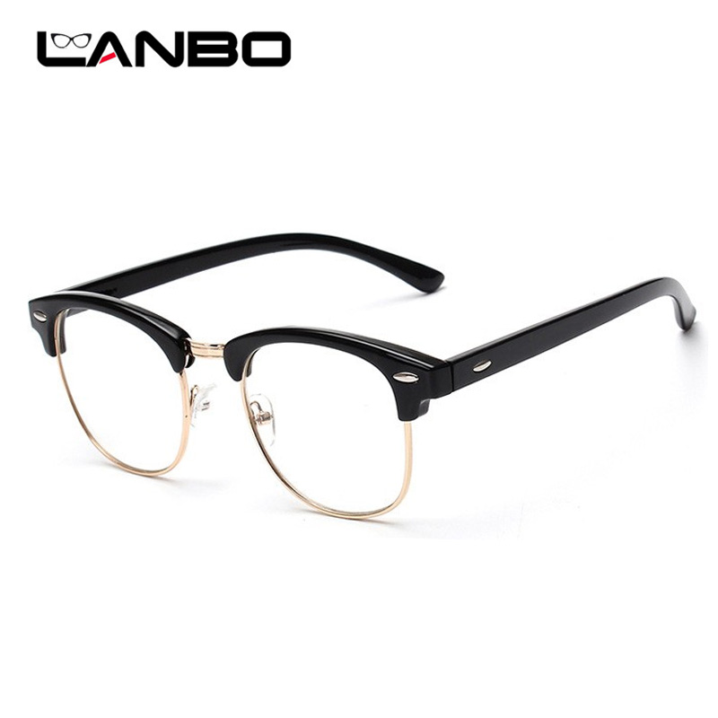 mas bajo precio estilo moderno sitio web para descuento €4.03 12% de DESCUENTO|LANBO mujeres hombres montura gafas de moda con  lentes transparentes hombre gafas de protección contra radiación ordenador  ...