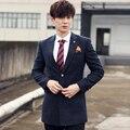 Новый 2016 мужская бутик модного бренда чистый цвет высокого класса деловой костюм куртка/Специальной Установки Смокинг Мужчин Длинный пиджак