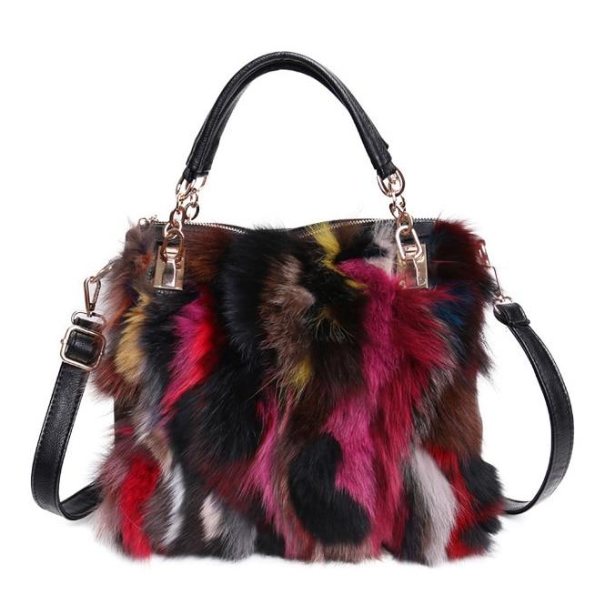 Women Natural Rabbit Hair Tote Bag Lady Winter Cony Hair Muff Fluffy Daily Top-handle Bag Female Multicolor Fur Crossbody Bag