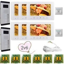 2 Doors 6 Buttons Infared CCD Camera Color 7″ HD 700lines Video Door Phone Intercom Doorbell 6 Monitors In Stock!
