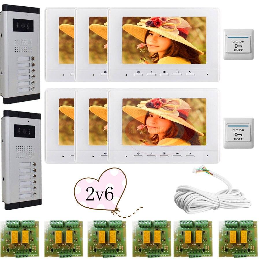 2 Doors 6 Buttons Infared CCD Camera Color 7 HD 700lines Video Door Phone Intercom Doorbell 6 Monitors In Stock!