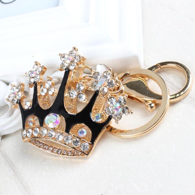 King Crown Lovely Fashion lindo Diamante de imitación cristal colgante bolso llavero accesorios mujer en joyería