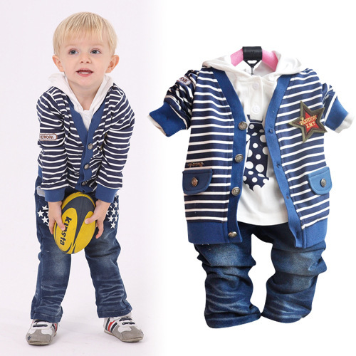 casual baby boy suits new striped cardigan sweater hooded t shirts denim pants 3pcs for children sport clothing sets acs297in clothing sets from mother