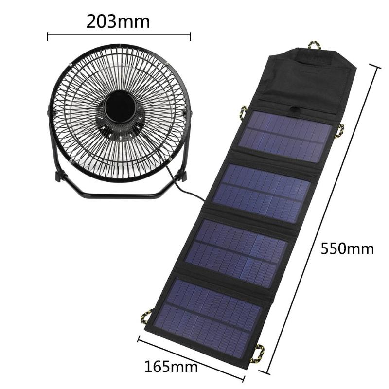 8inch USB Solar Sensor Cooling Fan+7W Folding Solar Panel Bag Mobile Phone Charger for Greenhouse Solar Panel mvpower 5v 5w solar panel bank solar power panel usb charger usb for mobile smart phone