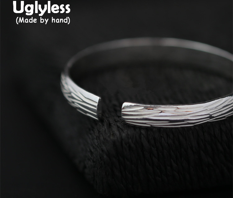 Uglyless Real S 990 Fine Silver Women Luxury Thick Bangles Handmade Brushed Opening Bangle Simple Fashion Ethnic Jewelry BijouxUglyless Real S 990 Fine Silver Women Luxury Thick Bangles Handmade Brushed Opening Bangle Simple Fashion Ethnic Jewelry Bijoux
