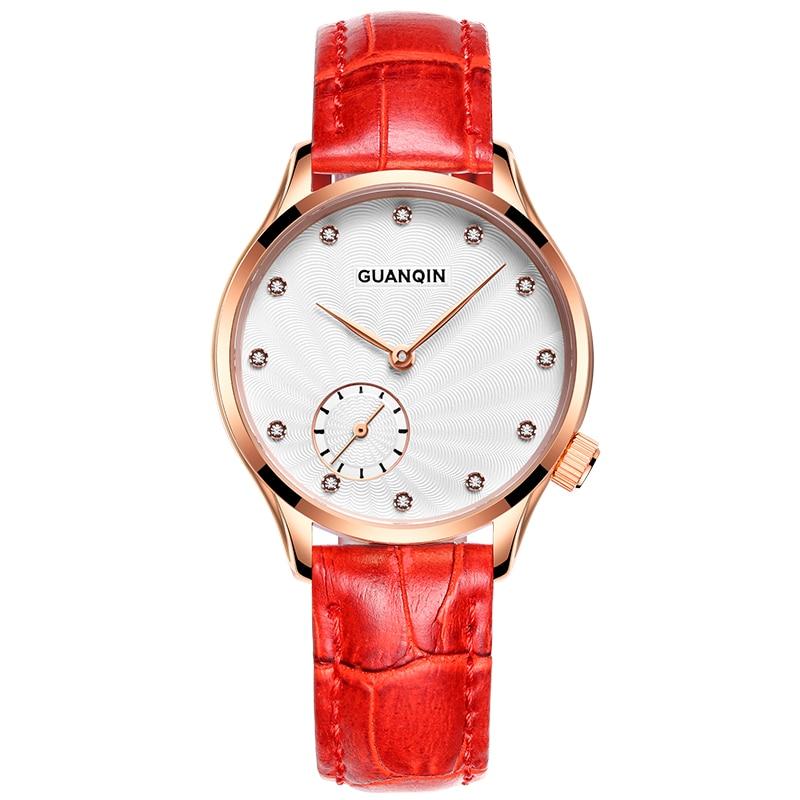 ФОТО GUANQIN Women Watches Fashion Casual Quartz Watch Diamond Waterproof Simple Women Bracelet Watch Leather Strap Montre Femme