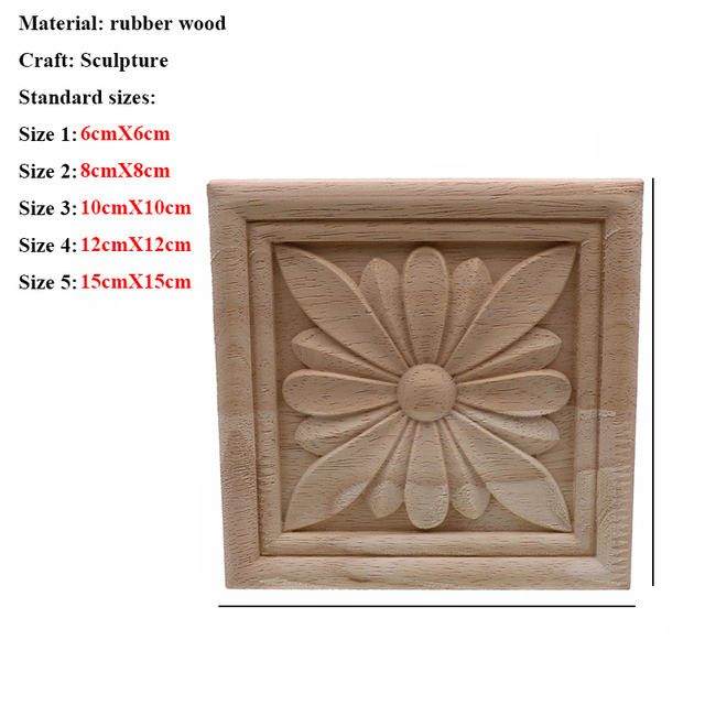Vintage Unpainted Wood Carved Decal Corner Applique Frame For Home Furniture Wall Cabinet Door Decorative Wooden Miniature Craft 6