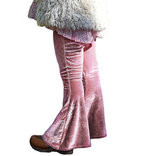 Baby Girl  Pants Gold Velvet Boot Cut bell-bottomed pants Pink and Red leggings Kids Spring And Autumn Lucky child Trou