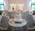 Großhandel 10 stücke Neue Große Größe Silber Runde Pailletten Tischdecke 120 zoll Glittery Gold Tischtuch Für Hochzeit Baby Shower dekoration-in Tischdecken aus Heim und Garten bei