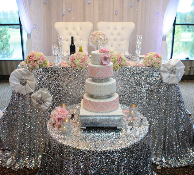 Wholesale 10pcs New Big Size Silver Round Sequin Tablecloth 120inch Glittery Gold Table Cloth For Wedding Baby Shower Decoration