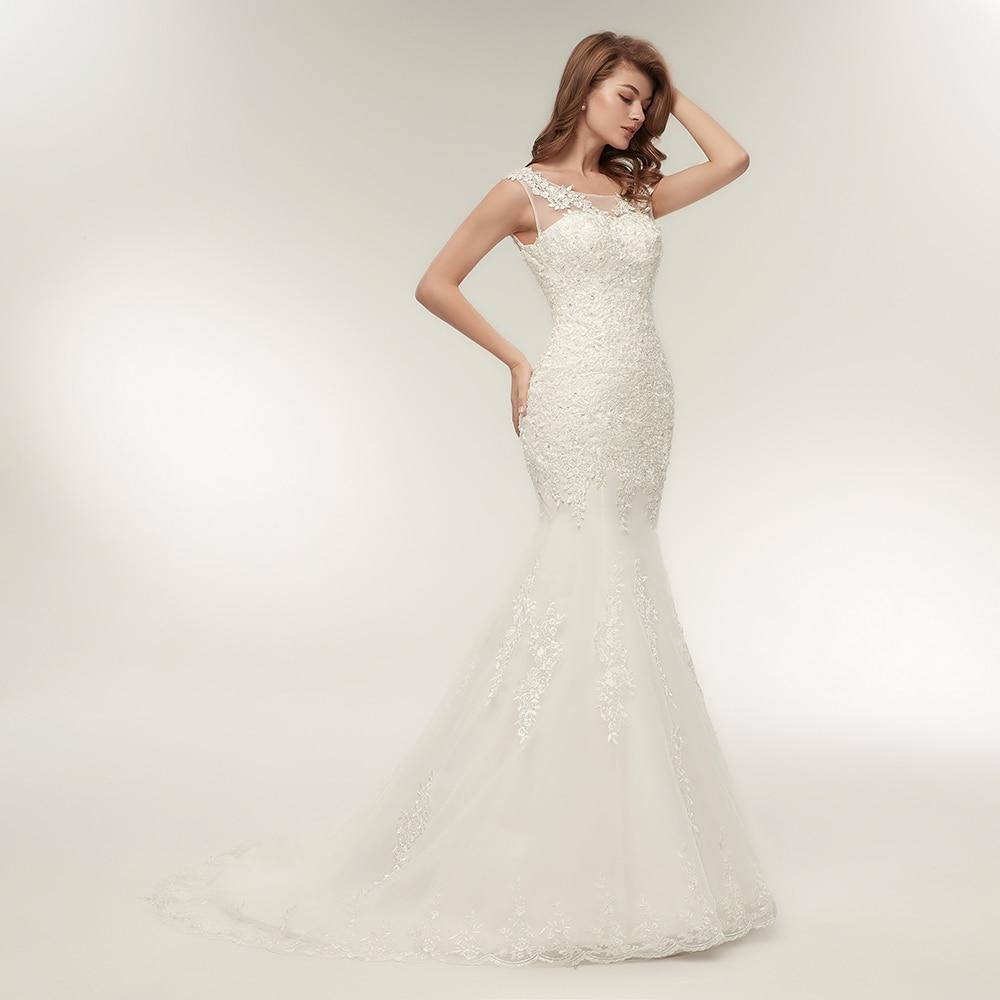 Fansmile Korean Vintage Lace Mermaid Wedding Dresses 2019 Vestido De