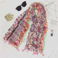 180 100cm Scarf Women 2017 Fluorescent Color Cotton Shawl With Tassel National Wind Print Women Scarf