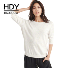HDY Haoduoyi Apparel Solid White Women Sweaters O-neck Hollow Out Backless Sexy Lady Tops Streetwear Loose Casual Pullovers
