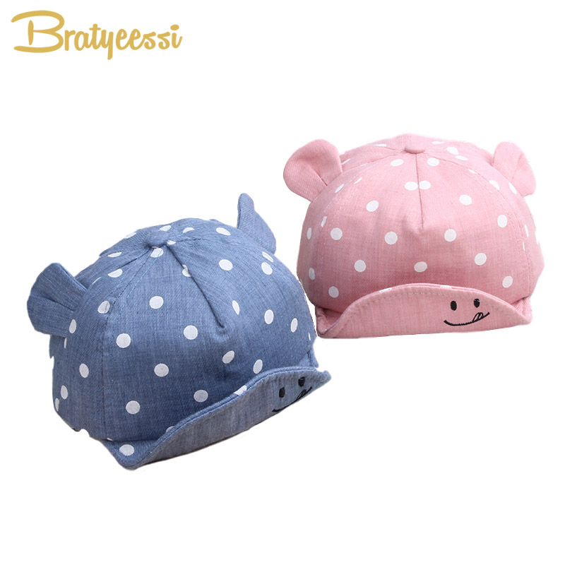 New Spring Dot Baby Hats for Girls Boys قابل للتعديل كارتون الأطفال قبعة بيسبول مع آذان لمدة 1-2 سنوات 5 ألوان 1 PC