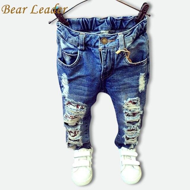 d857467336 Oso líder niños roto agujero Pantalones 2018 bebé niños niñas Jeans de  marca de moda de