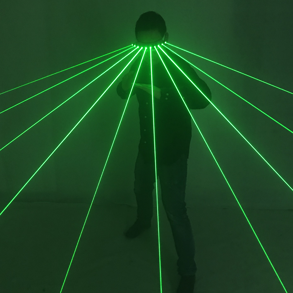 532nm Green Laser Glasses For Pub Club DJ Shows With 10Pcs Green Laser For LED Luminous Costumes Show