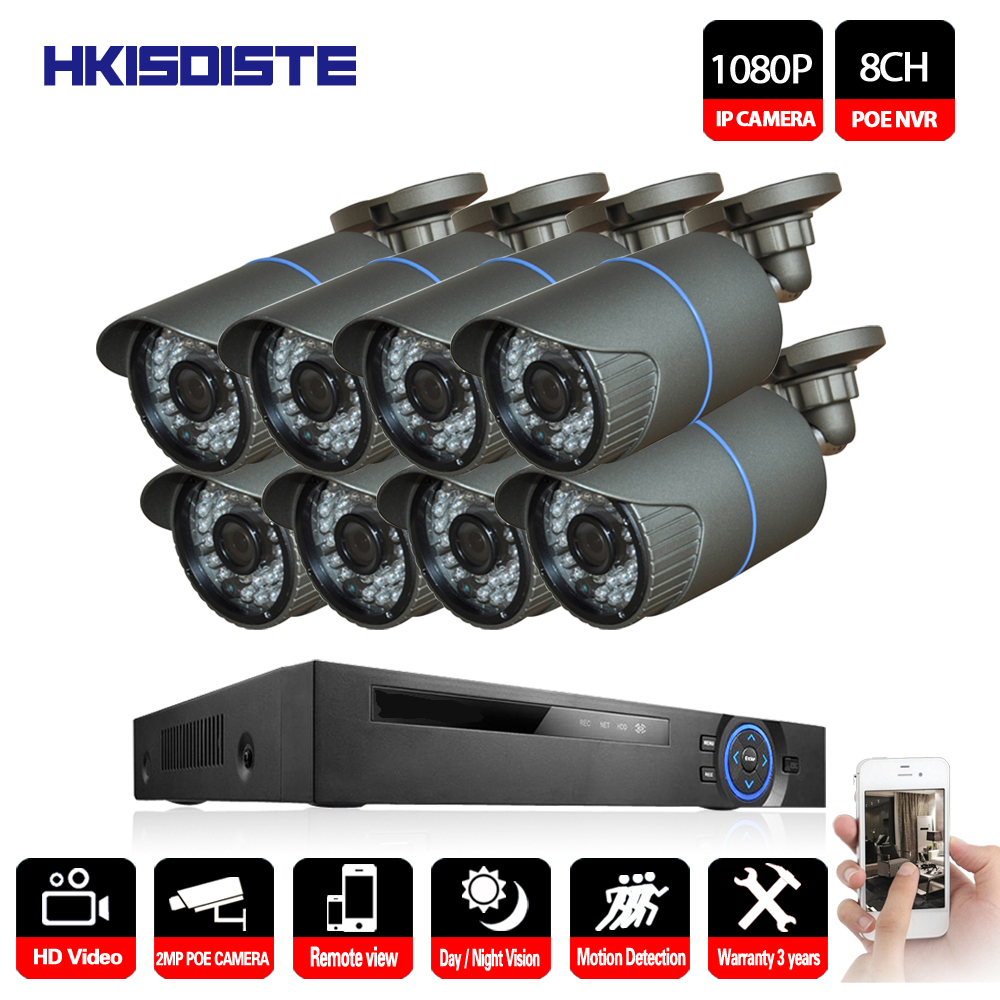 8CH 1080P HDMI POE NVR Kit CCTV Camera System 2MP Outdoor Security IP Camera P2P Video Surveillance System Set mobile view цена