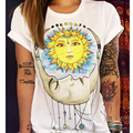 2016 Punk T shirt American Apparel Summer Women T-Shirt Sun Print Graphic Tee Female Graffiti Flowers Tops Tees Ladies Camisas