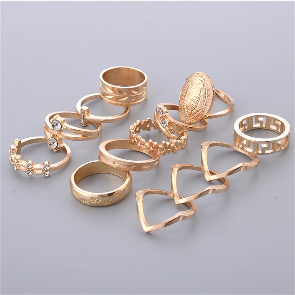 13 Pcs/set Women Fashion Virgin Mary Geometric Flowers Leaf Gold Finger Rings