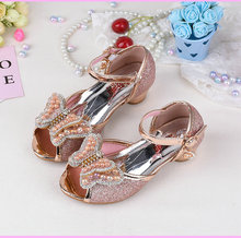 Hot selling Summer Butterfly pearl Girls Princess Sandals Childrens Kids High Heels Leather Bowtie Shoes