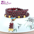 ZIRCONER  Classic Design Romantic Style Natural AAA+ Garnet Stone Beaded Bracelets With Butterfly Tassles Factory Directly Sale