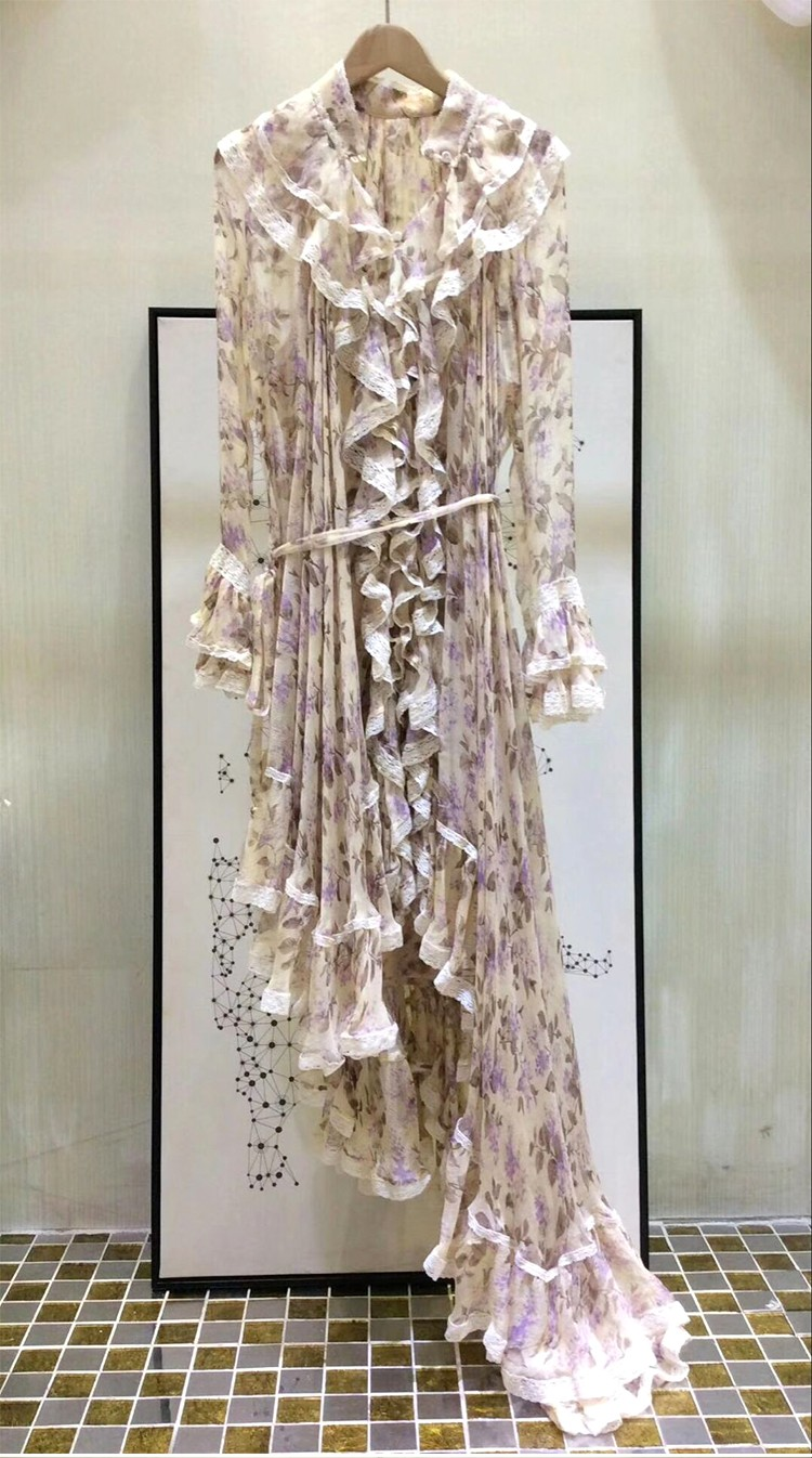 Women Long Sleeves Layered Cuffs Lavender Floral Print Asymmetrical Dress Silk Maxi Dress 6