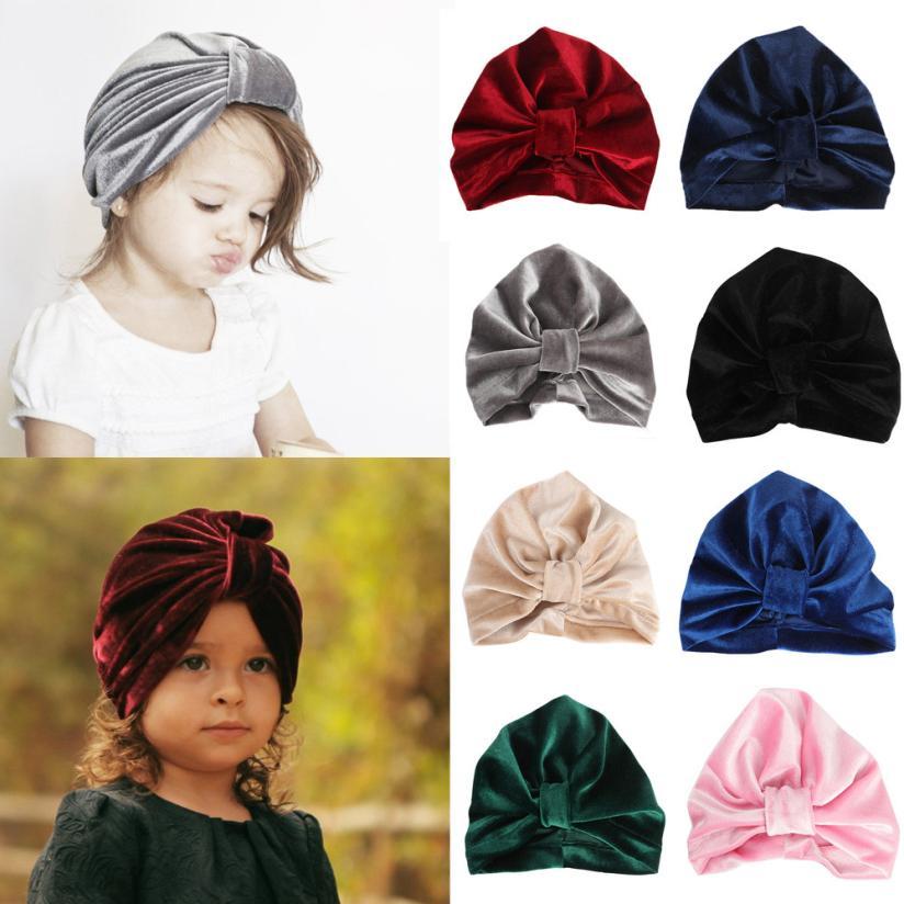 Newborn Baby Girls Boy Stripe Bowknot Toddlers Cotton Sleep Cap Headwear Hat HOT