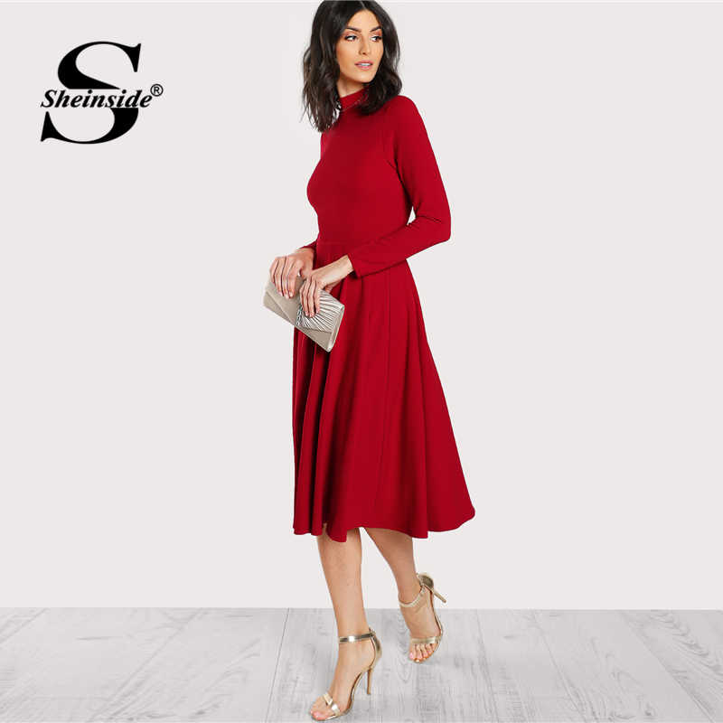 ... Sheinside Plain Fit and Flare Elegant Midi Dress Office Ladies Mock  Neck Pleated A Line Women ... 52d8e59d10ef