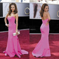 Hot Sale 2015 Fashionable Satin Mermaid Long Hot Pink Sexy Celebrity Dresses Affordable Formal Party Dresses