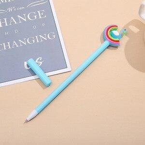 Image 3 - 40 قطعة قوس قزح الكرتون النمذجة قلم محايد اللون لينة منغ الطلاب الكتابة أسود مكتب قلم توقيع